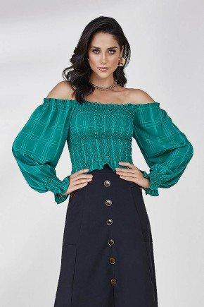blusa verde ombro a ombro selena cloa frente cima