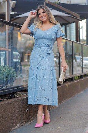 vestido midi azul claro em lesie com babados fasciniu s frente
