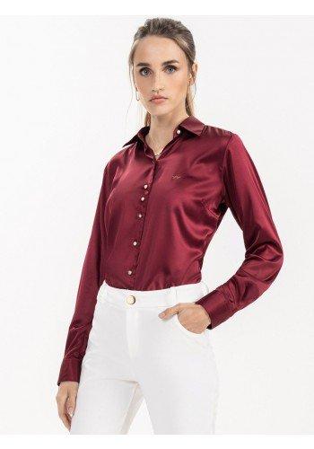 camisa bordo feminina cetim liliana look frente