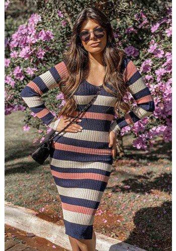 vestido tricot listrado alini frente