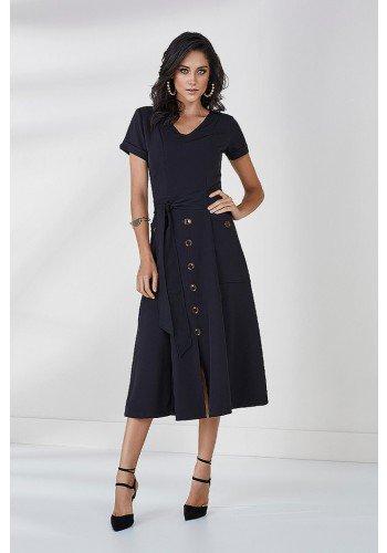 vestido preto evase maxi midi cora cloa frente