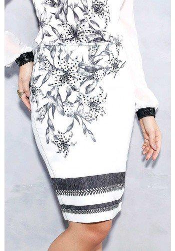 saia lapis off white floral com barrado titanium jeans frente baixo