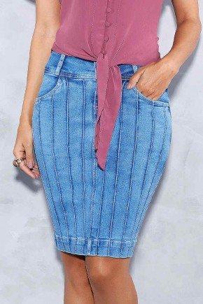 saia jeans recortes com nervuras titanium frente baixo