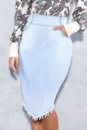 saia clara barra assimetrica desfiada titanium jeans frente baixo