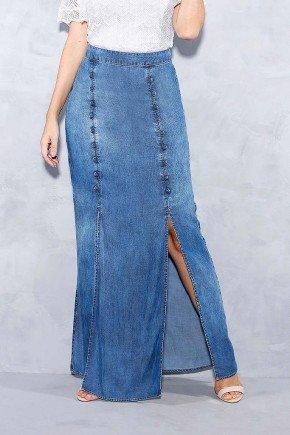 saia longa fendas e botoes frontais titanium jeans frente baixo