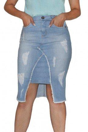 saia jeans clara mullet destroyed nitido frente