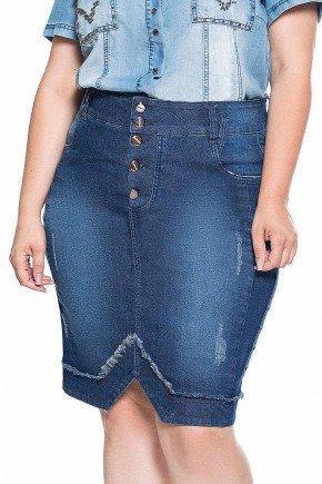 saia jeans plus size recorte na barra nitido frente baixo