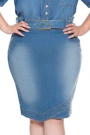 saia jeans plus size recorte na barra nitido frente 2 baixo