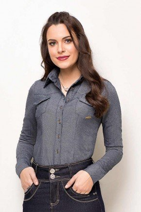 camisa feminina jeans manga longa laura rosa frente cima