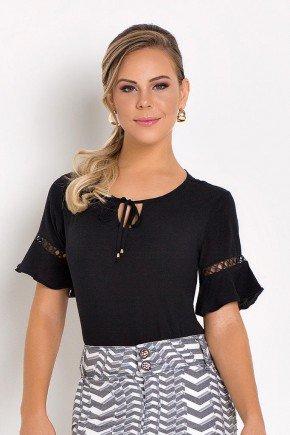blusa manga curta flare com amarracao preta laura rosa frente