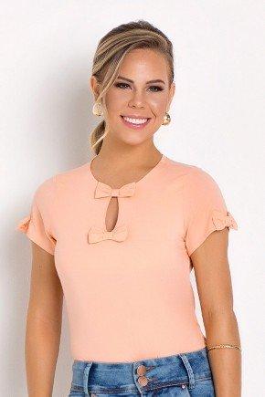blusa detalhes em lacos laranja laura rosa frente