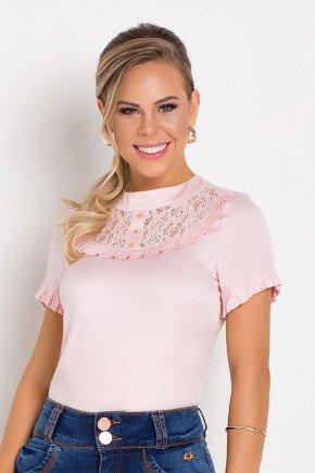 blusa detalhe em pregas e renda rosa claro laura rosa frente
