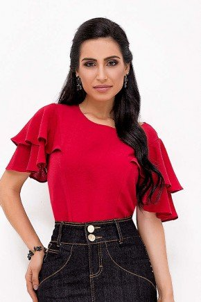 blusa vermelha com detalhes em babados laura rosa frente cima