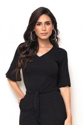 blusa preta mangas 3 4 flare com amarracao laura rosa frente cima