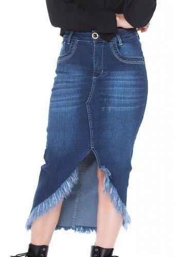 saia jeans mullet desfiada pele mania frente baixo