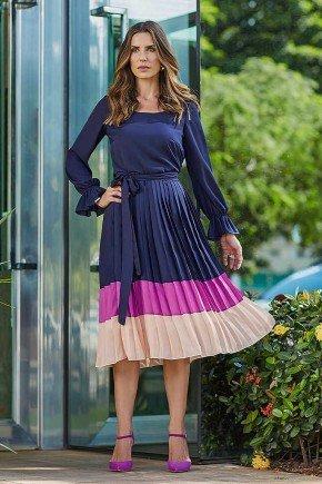 vestido dulce plissado midi jany pim frente