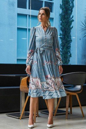 vestido azul claro gode estampa exclusiva adriana jany pim frente