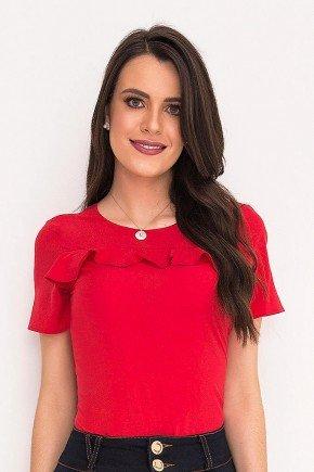 blusa vermelha detalhe babados laura rosa frente cima