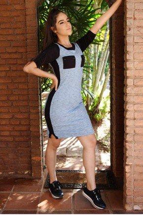 vestido mescla manga 3 4 canelado nitido jeans