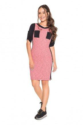 vestido rose manga 3 4 canelado nitido jeans frente