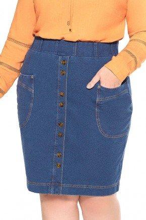 saia plus size em malha jeans com bolsos nitido frente