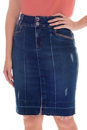 saia jeans bordados e detalhe na barra nitido frente baixo