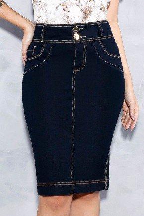 saia marinho midi costuras aparentes titanium jeans frente baixo