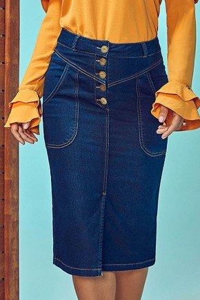 saia jeans botoes frontais via tolentino frente