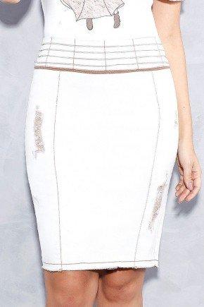 saia jeans cintura alta com recortes e puidos titanium frente baixo