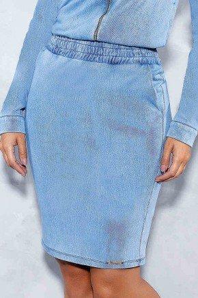 saia lapis clara com bolsos elastico no cos titanium frente baixo