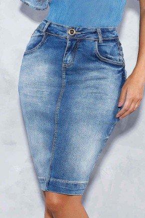 saia jeans detalhes trancados nos bolsos titanium frente baixo