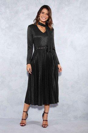 vestido plissado preto fios metalizados titanium jeans frente