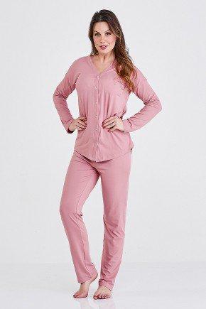 pijama rose com botoes amanda cloa frente