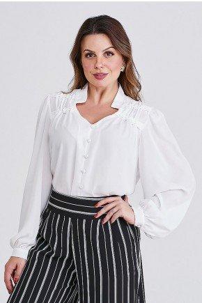camisa off white mangas bufantes bianca cloa frente