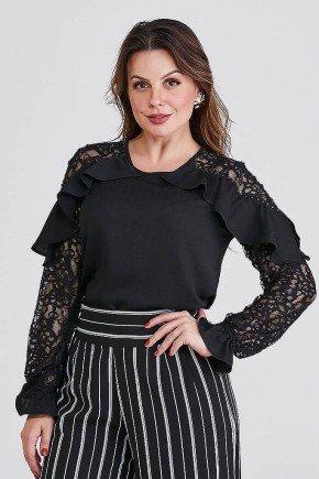 blusa preta com babados e mangas em renda betina cloa frente