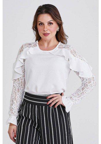 blusa off white com babados e mangas em renda betina cloa frente