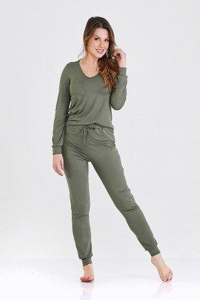 pijama longo verde militar sienna cloa frente