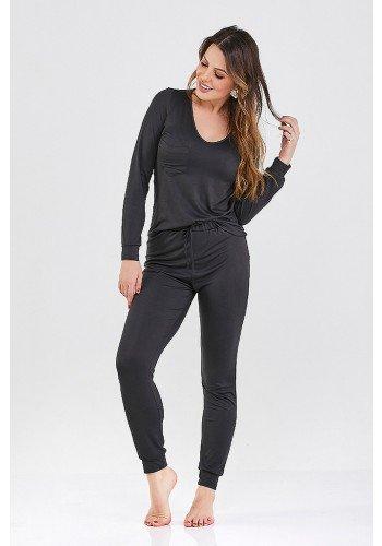 pijama longo preto sienna cloa frente
