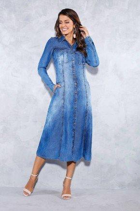 vestido evase jeans maxi midi titanium frente