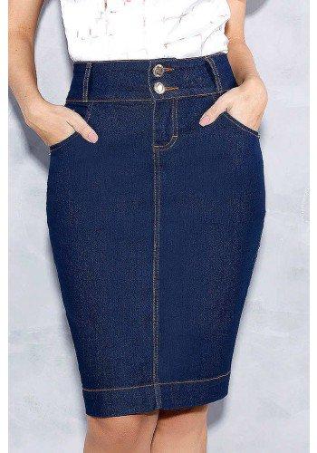saia jeans escuro bolsos bordados titanium frente baixo