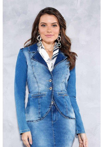 blazer jeans com botoes titanium jeans frente cima