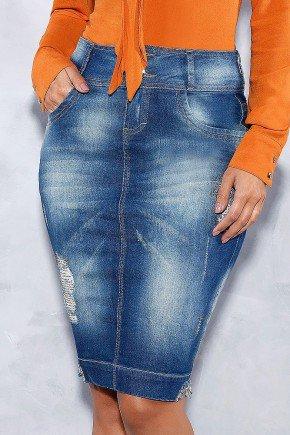 saia jeans lavagem especial com strass dourados titanium frente baixo