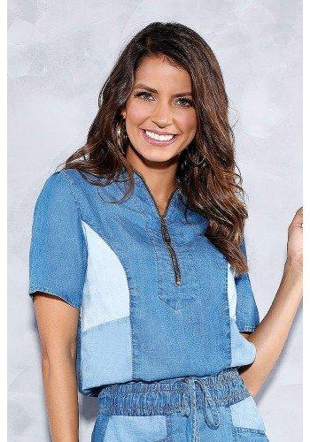 blusa jeans decote com ziper titanium frente cima