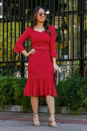 vestido vermelho midi com babados eliene jany pim frente