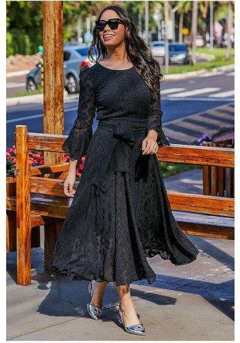 vestido gode max midi preto sara jany pim frente
