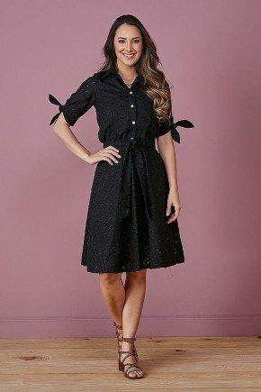 vestido gode preto em lesie com amarracao tata martello frente