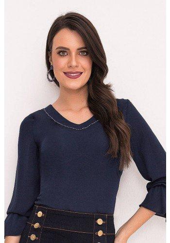 blusa marinho mangas 3 4 bordados na gola laura rosa frente cima