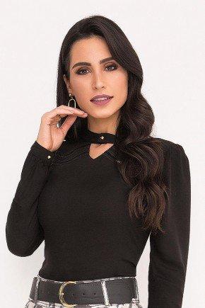 blusa preta mangas longas com entremeios laura rosa frente cima