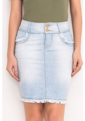 saia jeans clara barra desfiada laura rosa frente baixo
