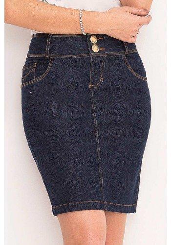 saia jeans costuras aparentes bicolor laura rosa frente baixo